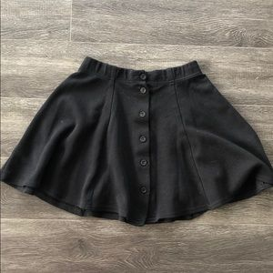 Button up circle skirt black